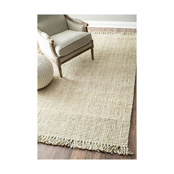 Handmade Eco Natural Fiber Chunky Loop Jute Bleached Area Rugs, 4 Feet by 6 Feet (4' x 6')