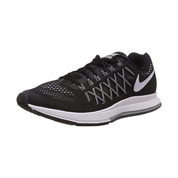Men's Nike Air Zoom Pegasus 32 Running Shoe Black/Dark Grey/Pure Platinum/White Size 9 M US
