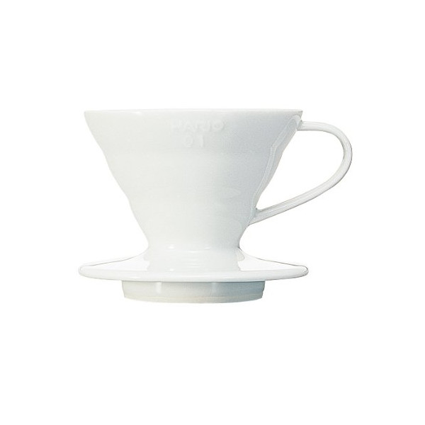 Hario VDC-01W 1-Piece Ceramic V60 Coffee Dripper, White