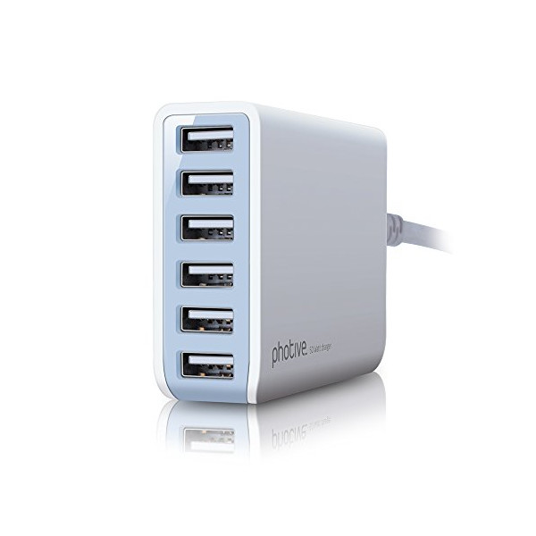 Photive 50 Watt 6 Port USB Desktop Rapid Charger. Intelligent USB Charger with Auto Detect Technology