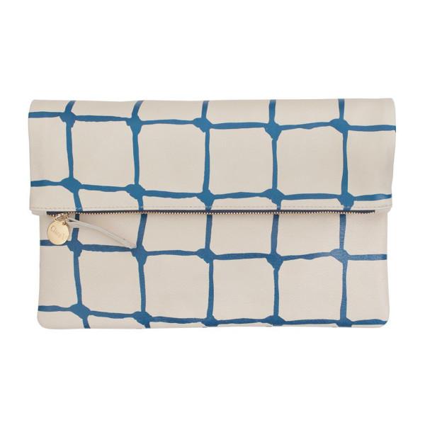 Clare Vivier Flat Clutch, Milano Cream / Net Blue Print