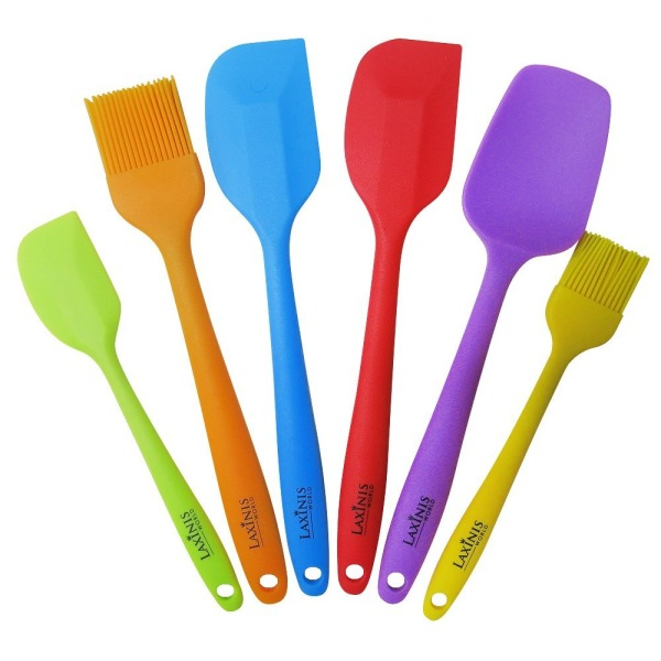 Laxinis World Silicone Spatula Utensil Set of 6 - Premium Baking Supplies Set Includes 2 Big Spatulas, 1 Small Spatula, 1 Big Spoon, 1 Big Basting Brush and 1 Small Brush (multi-color)