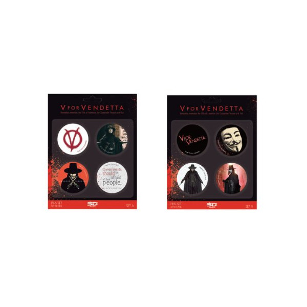 V for Vendetta Badge Pins 2 Pack Set a and Set B