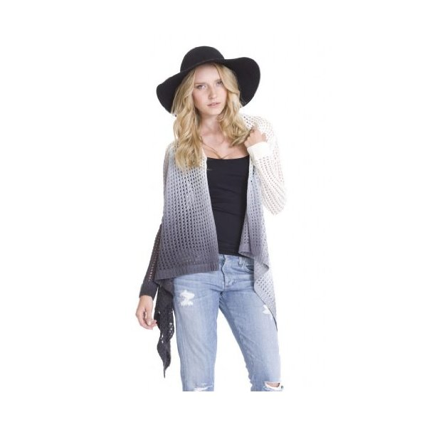 Ombre Dip Dye Open Stitch Miko Trendy Cardigan Sweaters by One Grey Day-L