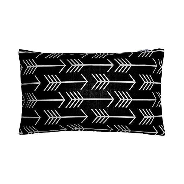 JinStyles Cotton Canvas Arrow Accent Decorative Throw Pillow Cover (Black, White, Rectangular, 1 Cover for 12 x 20 Inserts)