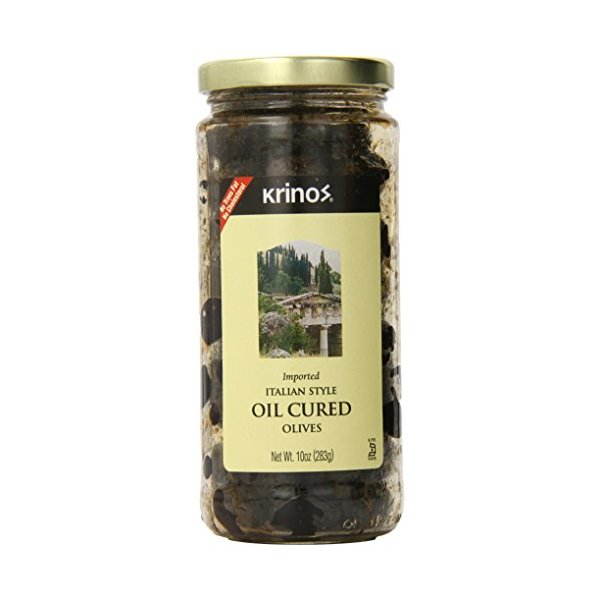 Krinos Olives, Italian Style Oil Cured, 10 Ounce