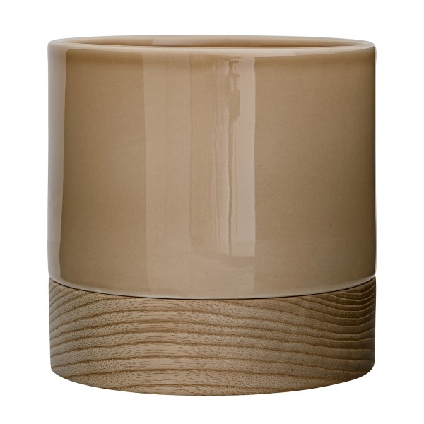 Bloomingville  Round Ceramic Flower Pot with Wood Bottom, Glossy Beige