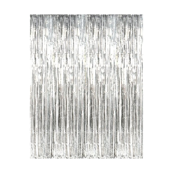 Metallic Silver Foil Fringe Curtains (1 pc)