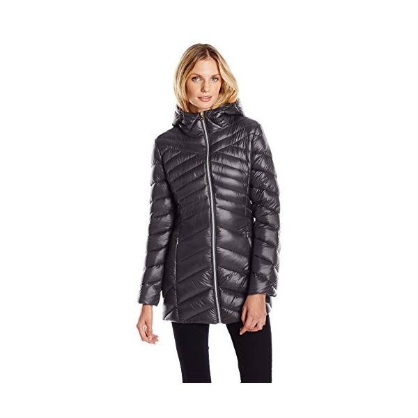Jessica Simpson Women's Chevron Packable Down Jacket, Black, X-Small