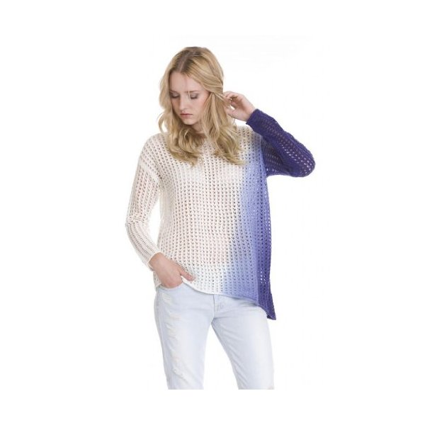 Laci Ombre Asymmetrical Dip Dye Pullover Open Knit by One Grey Day-XS