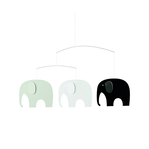 Flensted Mobiles Elephant Party Mobile, Black Mobile, 25-Inches