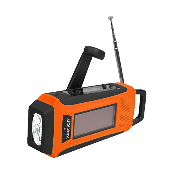 Ivation Rainproof Emergency Digital Solar & Hand Crank AM/FM/NOAA WB Radio, Smart/Cell phone Charger, Bright 3 LED Flashlight - Compact emergency Survival NOAA Alerts, and Cell phone charging - 3 Recharging options, Hand crank Dynamo Power Generator, Buil