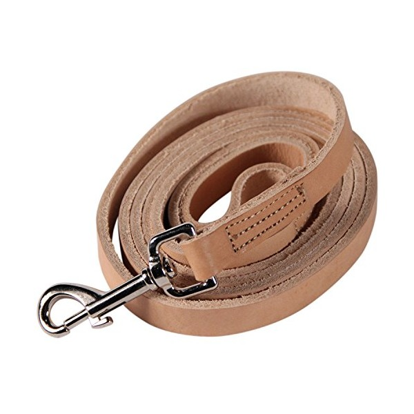 Logical Leather 6 Foot Dog Training Leash - Best Water Resistant Heavy Full Grain Leather Lead - Lifetime Guarantee - Tan