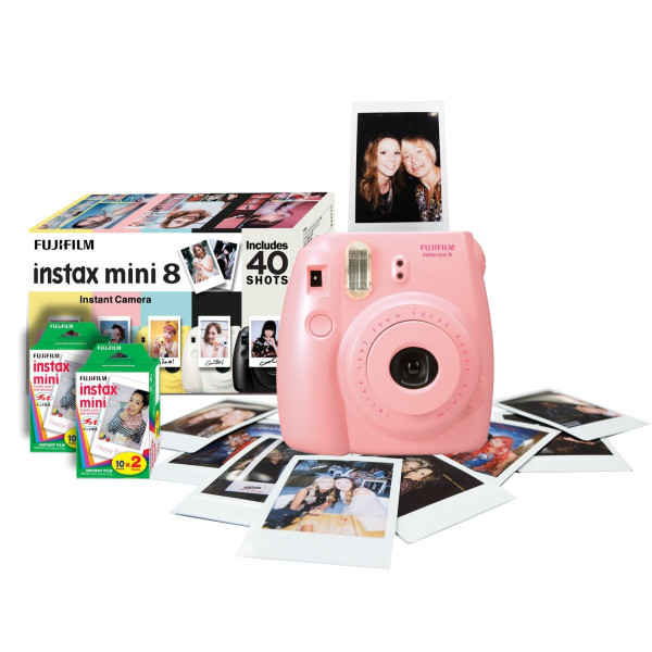 Fujifilm Instax Mini 8 Instant Camera & Film (40 shots) - Pink