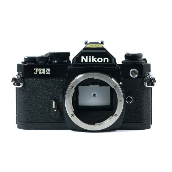 Black Nikon FM2n manual focus SLR film camera