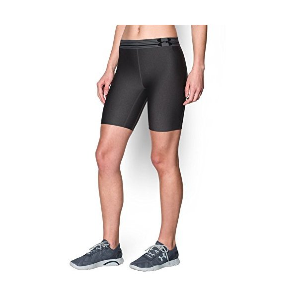 Under Armour Women's Heatgear Long Shorts, Carbon Heather/Black/Metallic Silver, Small