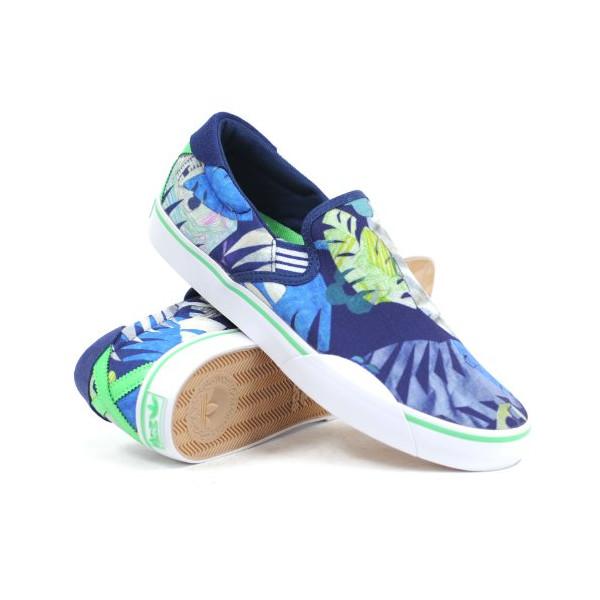 Adidas Gonz Slip-on Skate Shoe -Uniform Blue/tropic Green/white Sz 9.5