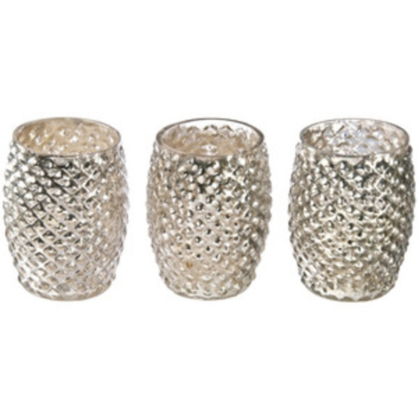 Set of 3 Vintage Inspired Hobnail Mercury Glass Votive Candleholders