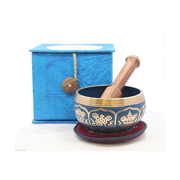Tibetan Buddhist Blue 8 Lucky Symbols Yoga Meditation Singing Bowl / Rosewood Mallet / Velvet Cushion / Box Gift Set