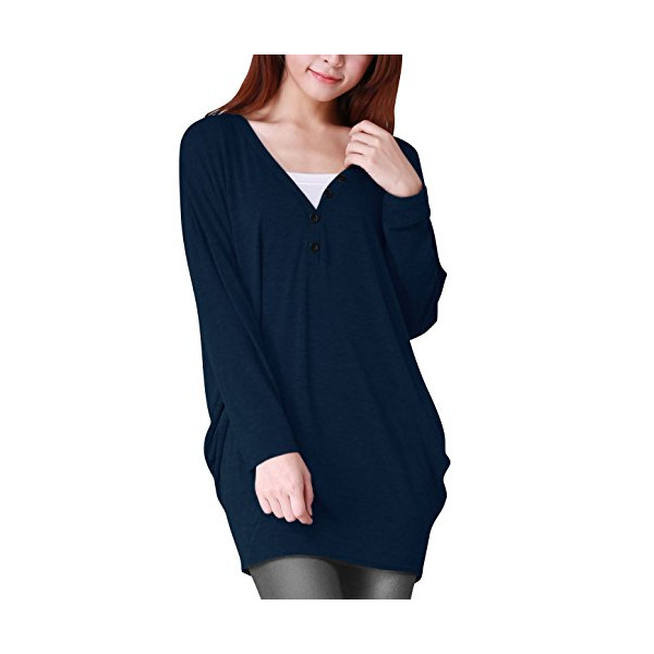 Allegra K Women V Neck Tunic Batwing Sleeve Shirts Loose Fitting Blouse