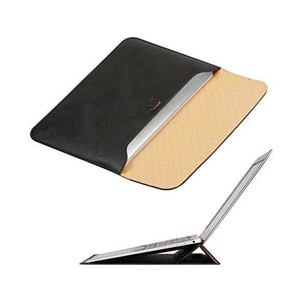 Omoton Wallet Sleeve Case for New Macbook 12-Inch with Stand, Black (3359920)