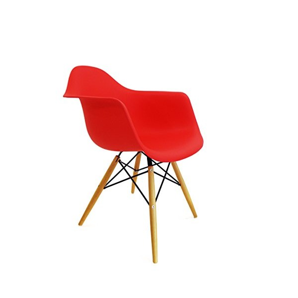 Modern Set of 2 EAMES Style Armchair Natural Wood Legs in Color White, Black and Red (Red)