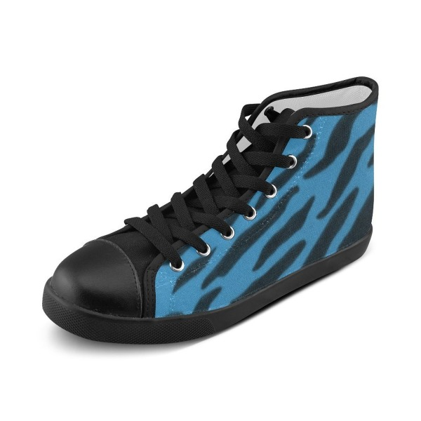 Artsdd Custom Cornflower Blue Zebra Print High Top Canvas Shoes for Women(Model002)