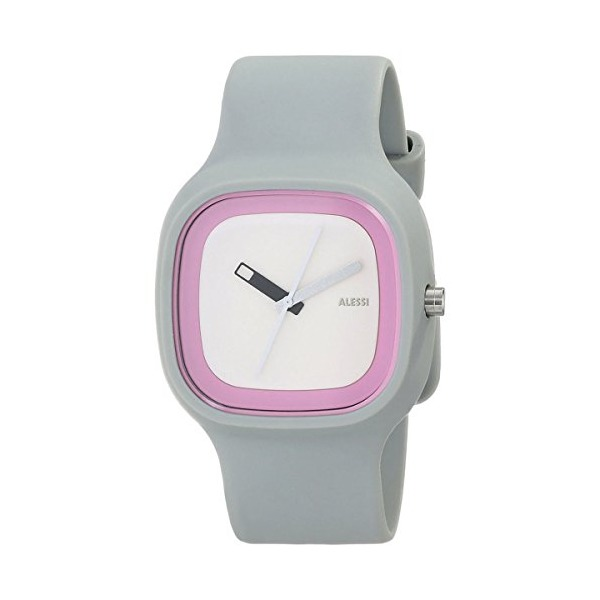Alessi Men's AL10022 Kaj Polyurethane Grey Dial White and Pink Designed by Karim Rashid Watch
