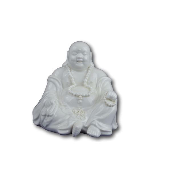 "5"" Fine White Porcelain Fengshui Happy Laughing Lucky Buddha"