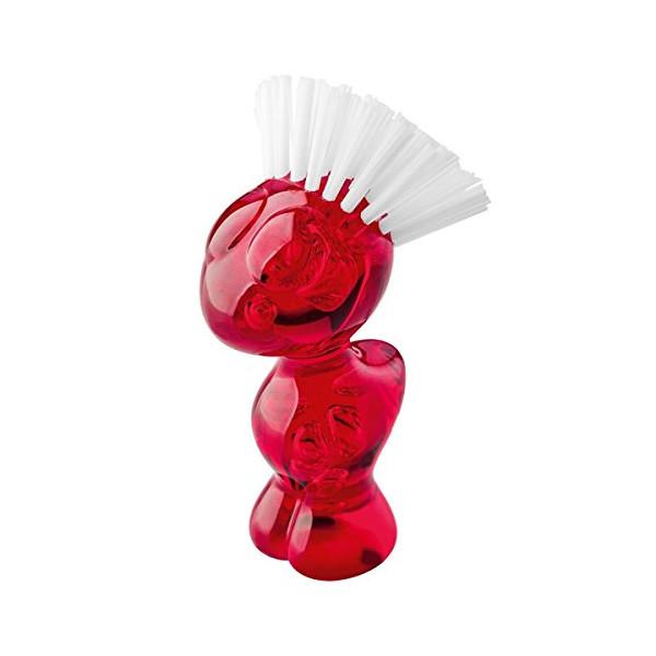 koziol TWEETIE Vegetable Brush, transparent red