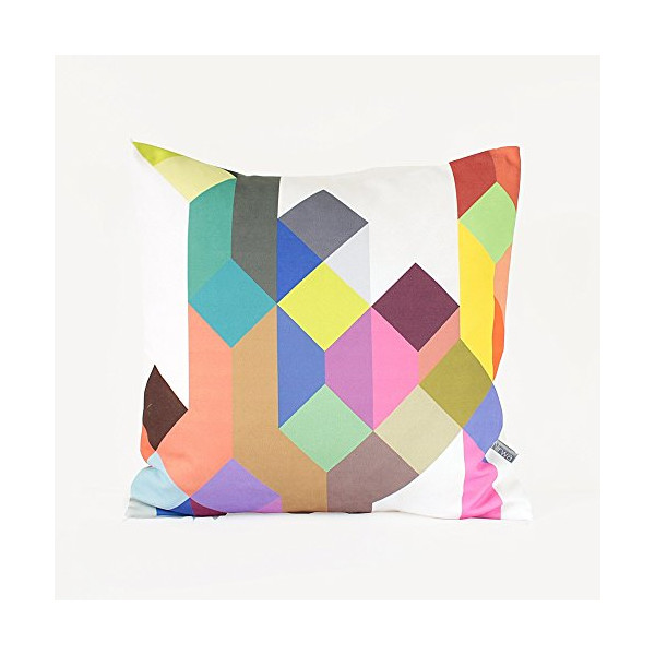 "Colorful Geometric Pillow in Tan, Hot Pink, Royal Blue, Red, Brown, Emerald, Yellow, Gray / Geometric Cushion / Pastel Pillow / 18"" x 18"" Pillow Cover"