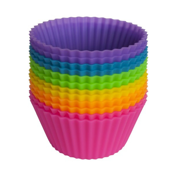 Pantry Elements Silicone Baking Cups / Cupcake Liners - 12 Vibrant Muffin Molds in Storage Container
