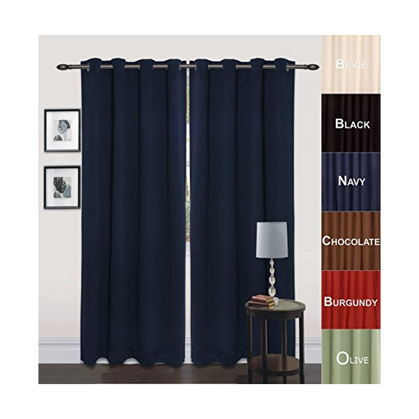 "Utopia Bedding Grommet Top Thermal Insulated Blackout Curtains, Set of 2 Panels, 8 Grommets / Rings per panel, 2 Tie Back incuded, Drop Curtain (Long), 52"" Width x 84"" Length, Reduces Heating and Cooling Costs, Blocks Light for a Restful Night's Sleep, Pr"