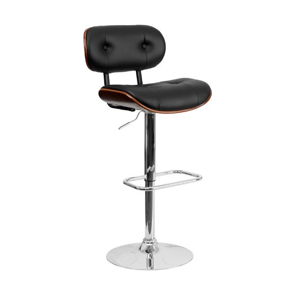 Flash Furniture Walnut Bentwood Adjustable Height Bar Stool with Button Tufted Black Vinyl Upholstery
