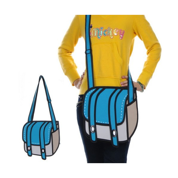 Gray Blue Crossbody Satchel 3d Jump Style 2d Drawing From Cartoon Paper Bag Gift