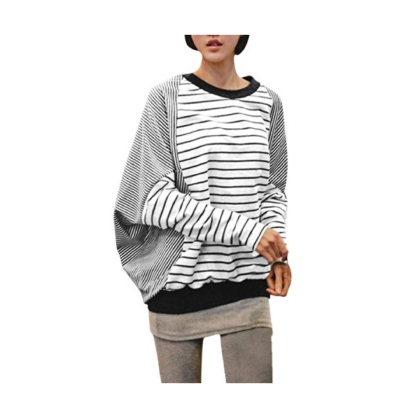 Allegra K 2014 Fall Winter Women Stripe Top Patchwork Batwing Top T Shirts