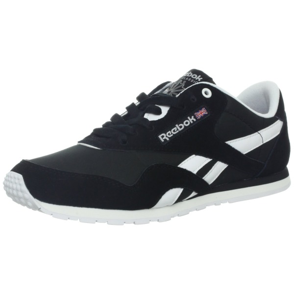 Reebok Women's Classic Nylon Slim Monocolor Fashion Sneaker,Black/White/Steel,7.5 M US