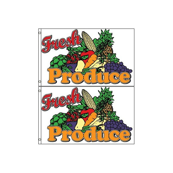 Fresh Produce Banner Flag (Pack of 2) - 3 x 5