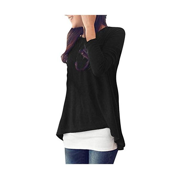 Allegra K Women Scoop Neck Long Sleeve Irregular Hem Stretchy Loose Tunic Shirt