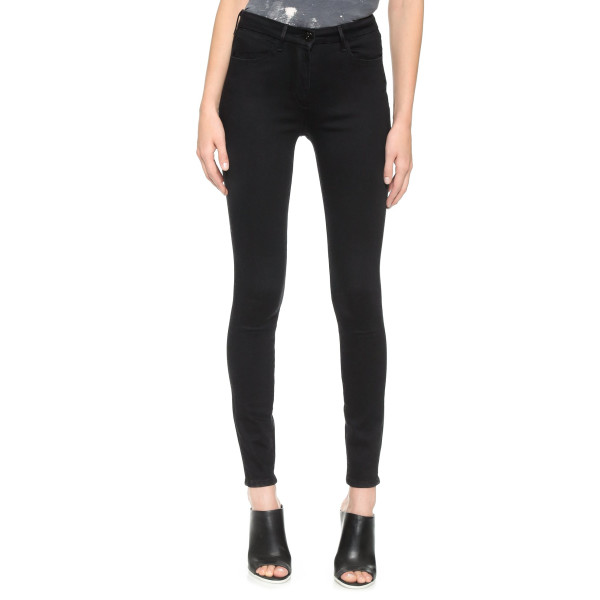3x1 Women's W3 Channel Seam Skinny Jeans, Black