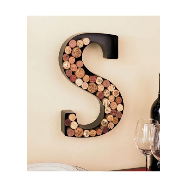 Monogram Letter S Wall Wine Cork Holder in Black Metal