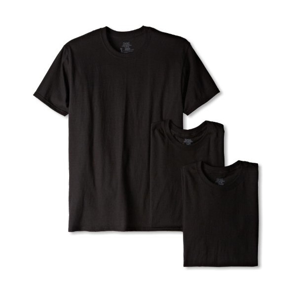 Hanes Men's Classics 3 Pack Black Crew Neck Tee, Black, Medium