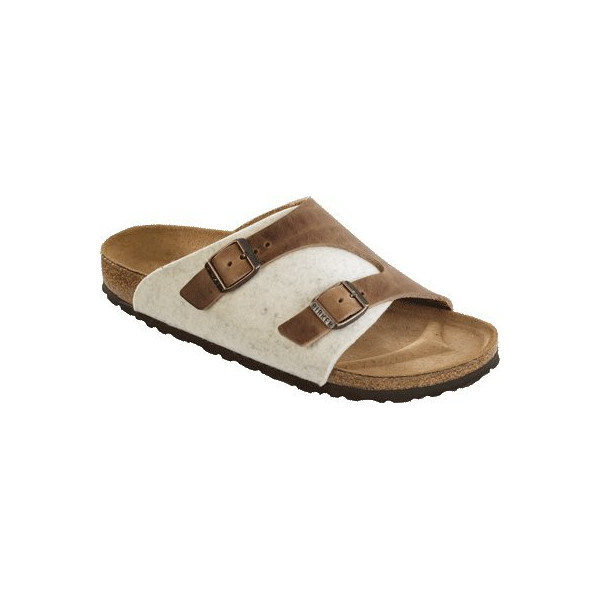 Birkenstock Sandals ''Zürich'' from Leather/Wool in Tobacco Brown/Beige 40.0 EU W