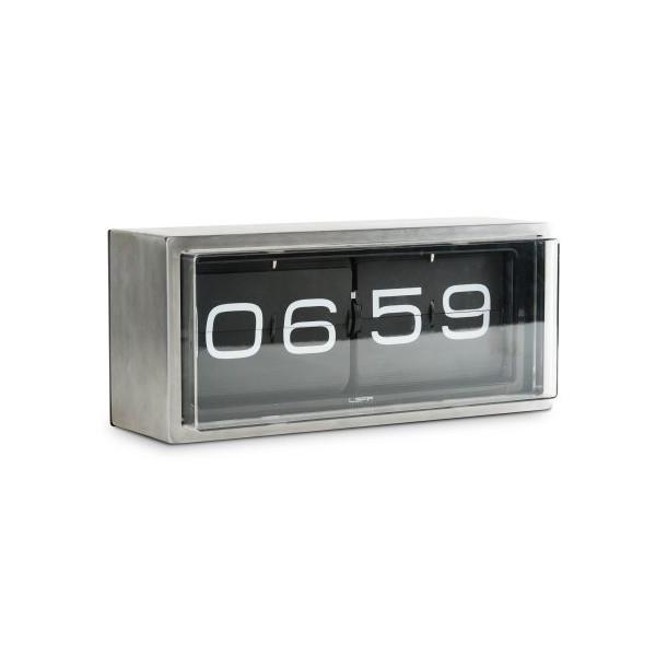 wall/desk clock brick stainless steel 24h black
