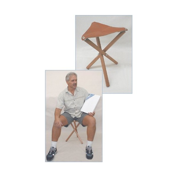 Jack Richeson Three Leg Wood Artist Folding Stool, Saddle Leather