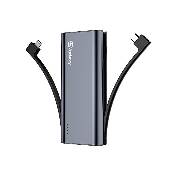 [Apple MFI Certified] Jackery Bolt 6,000 mAh Ultra-Compact External Battery Charger, Portable Power Bank and Travel Charger with Built-in-Lightning & Micro USB Cables (Black)