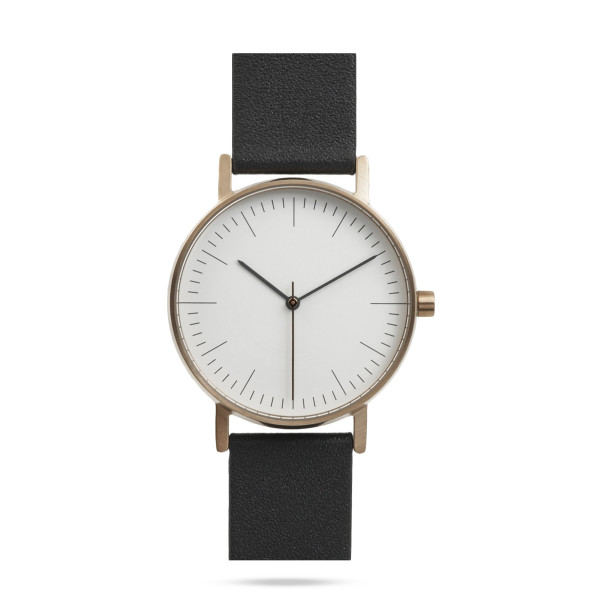 BIJOUONE Watch, Navy Blue Leather with Rose-gold Tone Case