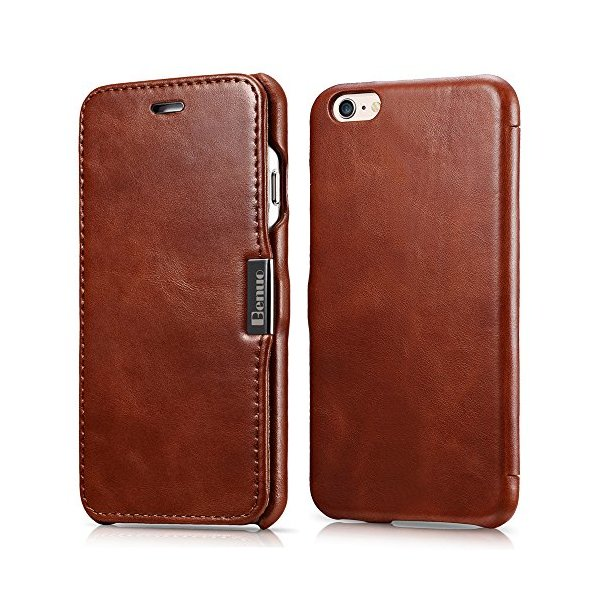 iPhone 6s / 6 Case, Benuo [Vintage Series] [Genuine Leather] Folio Flip Corrected Grain Leather Case [Ultra Slim] with Magnetic Closure for iPhone 6 / iPhone 6s 4.7 inch (Retro Brown)