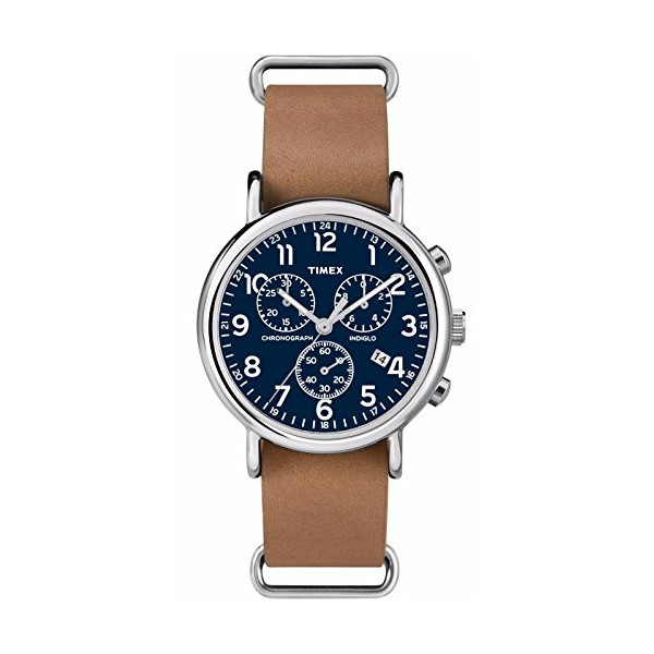 Timex Men's Weekender Indiglo Slip-On Leather Band Chronograph Watch