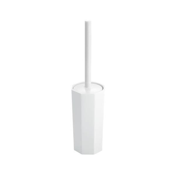 InterDesign Matrix Toilet Bowl Brush and Holder for Bathroom Storage - White